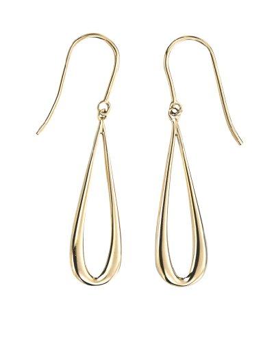 Elements 9ct Yellow Mackintosh Open Teardrop Drop Earrings