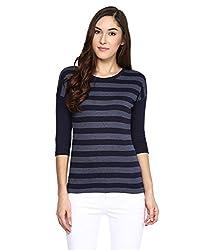 Hypernation Blue and Grey Stripe Round Neck Cotton T-shirt