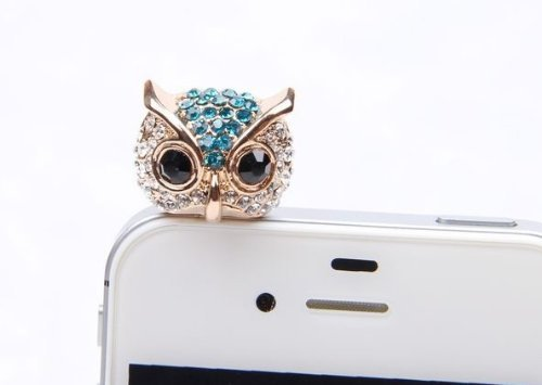 Mavis'S Diary Bling Crystal 3.5Mm Rhinestones Night Owl Pattern Cellphone Charms Anti-Dust Dustproof Earphone Audio Headphone Jack Plug Stopper For Iphone 4 4S Samsung Galaxy S2 S3 Note I9220 Htc Sony Nokia Motorola Lg Lenovo (Blue)+ Free Mavis'S Diary Cl
