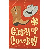 Giddy Up Cowboy Applique House Flag