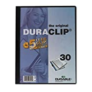 Vinyl DuraClip Report Cover w/Clip, Letter, Holds 30 Pages, Clear/Navy