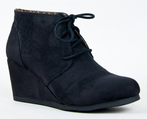 REX Designer toms Inspired Stitch Detail Lace Up Ankle Bootie Wedge