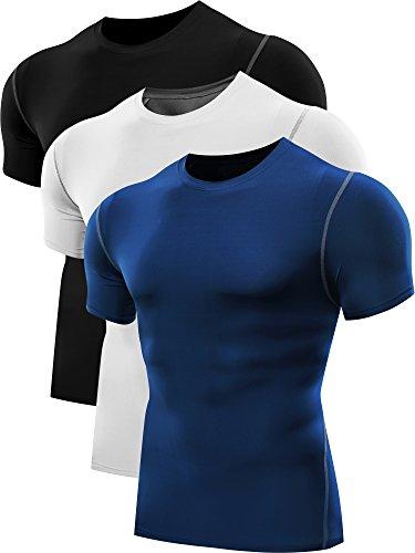 Neleus UOMO Performance strato di base Compressione Maglietta Fitness manica corta Top 3 Pack,3# 3 Pack nero,bianco,blu,Eur M/Tag L
