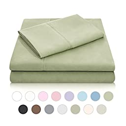 MALOUF Double Brushed Microfiber Super Soft Luxury Bed Sheet Set - Wrinkle Resistant - RV/Short Queen Size - Fern