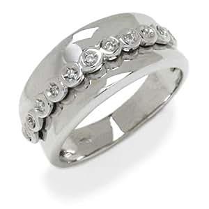 Gioie Bague Femme en Or 18 carats Blanc avec Diamant H/SI (total diamants 0.06 ct), Taille 51.5, 7.4 Grammes