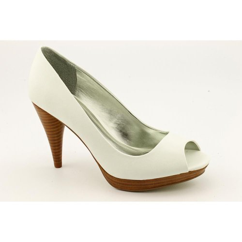 Style & Co Celine Womens Size 7 White Peep Toe Faux Leather