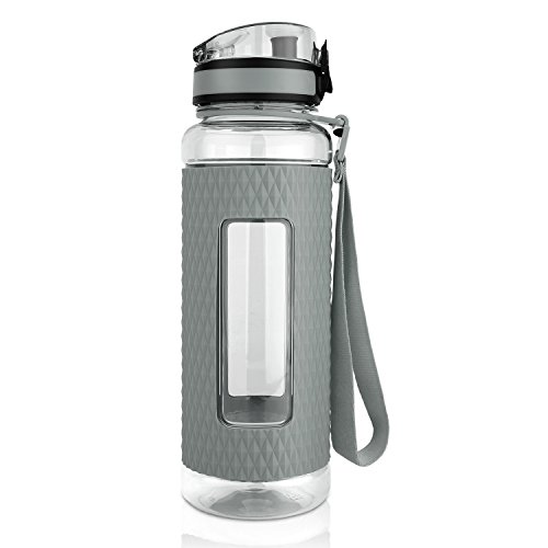 TALONITE Water Bottle with Leak Proof Flip Top Lid - 32 or 22 Oz - Eco Friendly & Non Toxic BPA Free Tritan Plastic Water Bottles with Silicone Sleeve for Gym Yoga Running Hiking Cycling and Camping (Non Toxic Water Bottle compare prices)