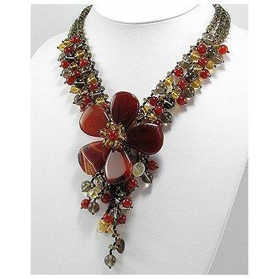 Jewelry Locker Triple Strand Gemstone Flower Necklace