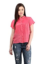 Mayra Women's Georgette Shirt (1512T11170_M, Pink )