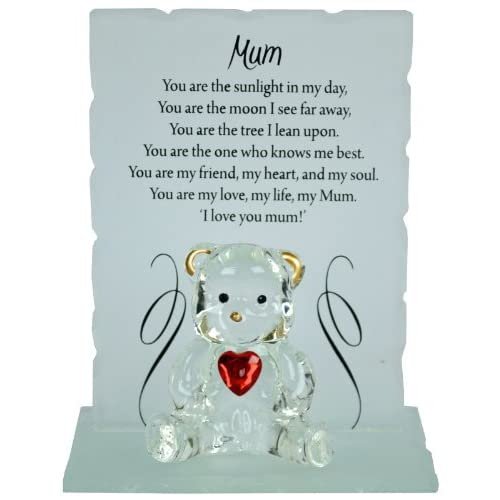 NEW ENGRAVED GLASS CRYSTAL BEAR GIFT SET POEM POETIC WRITING MESSAGE MUM DAD (MOM)
