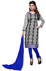 Suchi Fashion Grey & Blue Embroidered Cotton Dress Material