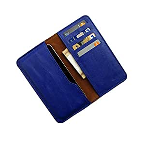 i-KitPit : PU Leather Wallet Flip Pouch Case For Karbonn A2 (BLUE)