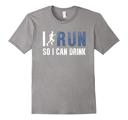 Men's I Run So I Can Drink Funny T-Shirt Gift For Sport Runner Fan Large Slate (I Can Run compare prices)
