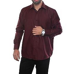 VinaraTrends Maroon Color Poly Cotton Shirt For Men
