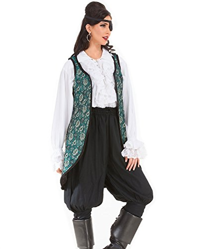 Angelica Brocade Privateer Pirate Renaissance Medieval Womens Costume Vest