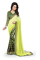 Drapme Floral Print Neon Green Georgette Saree with Designer Printed Blouse