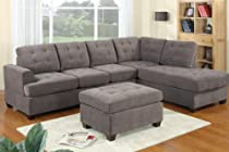 Big Sale Reversible R/L Sectional Sofa Set in Charcoal Waffle Suede with Free Ottoman