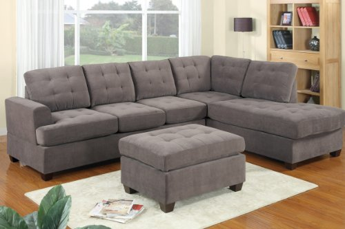 3pc Modern Reversible Grey Charcoal Sectional Sofa Couch with Chaise and Ottoman – Grey Living Room Sectional image