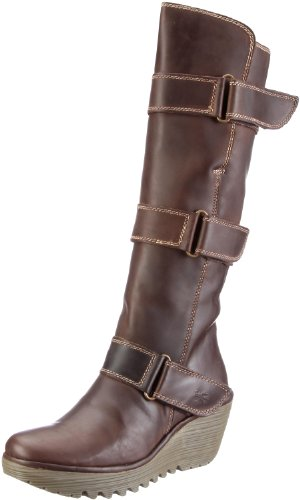 Fly London Women's Yeven Leather Dark Brown Platforms Boots P500233001 3 UK