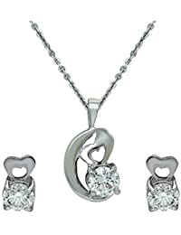 Mahi Valentine's Day Gift Solitaire Harebell Rhodium Plated Pendant Set With Swarovski Zirconia For Women NL1105049R