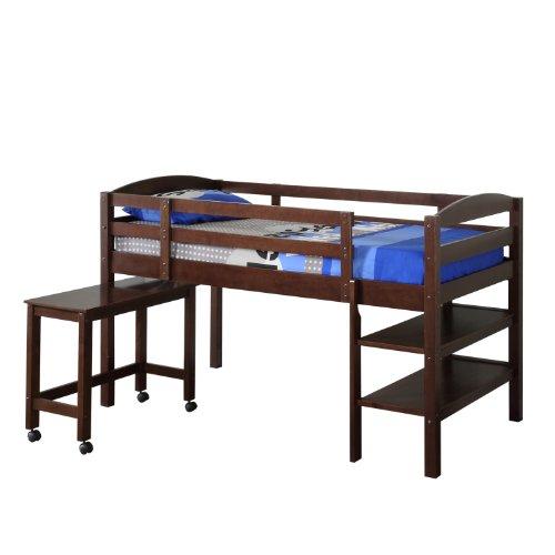 solid wood twin low loft bed w shelves and rolling desk. Black Bedroom Furniture Sets. Home Design Ideas