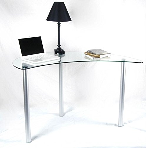 Tier One Designs Clear Glass Corner Computer Desk