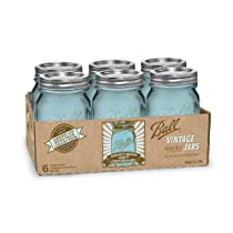 Ball Jar Heritage Collection Pint Jars with Lids and Bands Set of 6