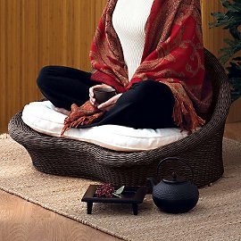 Gaiam Rattan Meditation Chair - Espresso finish