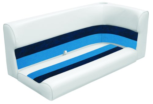 Wise 55 Inch Cushion Only Pontoon Bench Seat White Navy Blue Boat Cushions