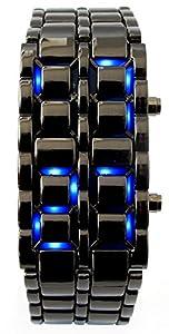 Youyoupifa Men's Stainless Steel Lava Blue LED Digital Bracelet Watch (Black)