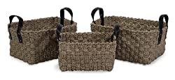 Set of 3 Natural Seagrass Table Top Woven Storage Baskets