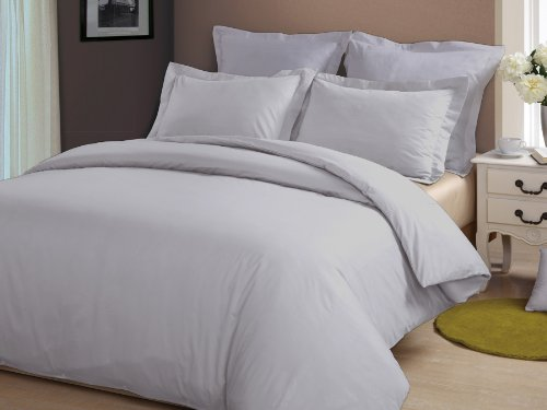 Congo Linen 510 Tc Italian Finish Egyptian Cotton Luxurious Sheet Set 510 Tc Solid ( Queen , Silver Grey )