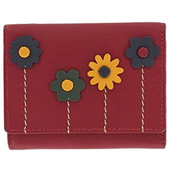 Harness Leather Compact Ladies Purse With Applique Flower Detail 1193FL_21 Red
