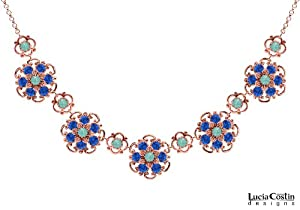 Lucia Costin Collar Necklace with Mint Blue and Blue Swarovski Crystals, Crafted with Delicate Flower Details and Twisted Lines; 24K Pink Gold over .925 Sterling Silver; Handmade in USA