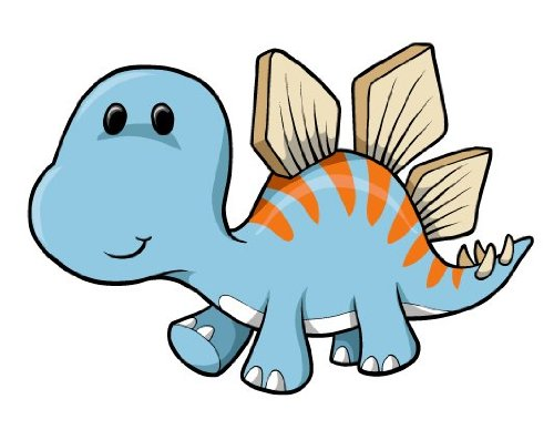 Children's Wall Decals - Cartoon Baby Blue Dinosaur - 12 inch Removable Graphic