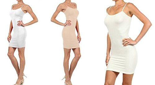 FashionMic 3 Pack Womens Seamless Cami Dress (One Size, white/oyster/ivory)