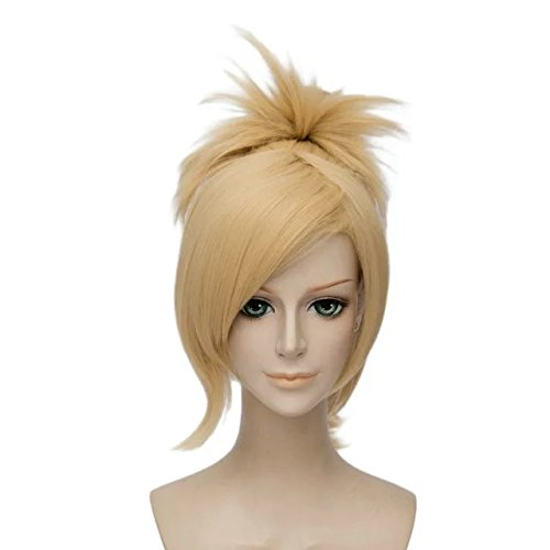 [Anime Cosplay Wig Light Golden 45cm Ponytail Party Full Hair+Cap] (The Office Angela Costume)