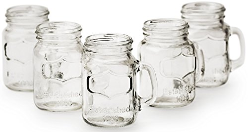 Mini Yorkshire Mason Jar Mug Glass Shot Glass Set with Glass Handles, Set of 6, 4.75 Ounce Each, Whiskey Drinking Glasses/cups, Glassware Drinkware Beverage Cups By Circleware (Mug Jar Glass compare prices)