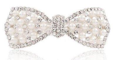 Pearl and diamond glitter Ribbon Barrette accessory