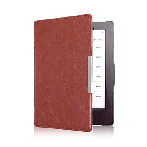 Magnétique Ultra Mince Housse Étui en Cuir Coque avec en veille Pour eReader eBook KOBO AURA HD, Couleur Marron