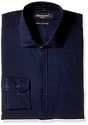 Dennison Men's Formal Shirt (SS-16-381_Navy Blue_40)