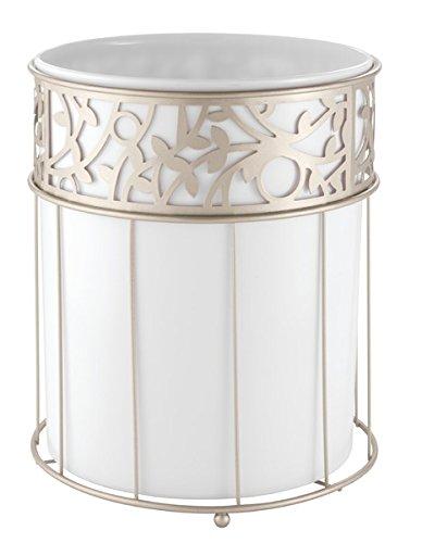 Mdesign Decorative Wastebasket Trash Can For Bathroom Office Kitchen White Satin Home Garden