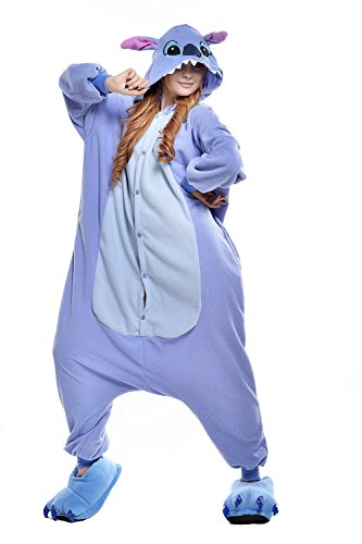 [Belife Unisex-Adult Onesie Pajamas Cosplay Costumes(M,Blue stitch)] (Stitch Costumes Adults)