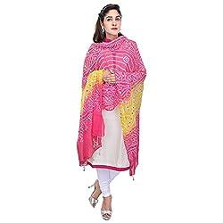 Soundarya Pink Yellow Bandhej Cotton Hand Work Dupatta