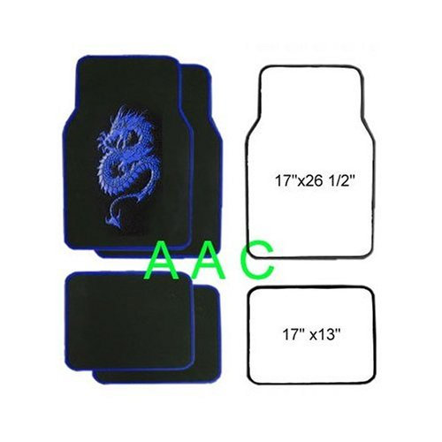 A Set of 4 Universal Fit Plush Carpet Floor Mats for Cars / Truck - Dragon Blue