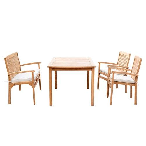 4er-Set Gartenmöbel aus Teak-Holz, Tisch 150x90, 2 x Stuhl mit Kissenauflage, 1x Bank mit Auflage, Sitzgruppe, B-Ware Neu, Ausstellungsstuck, unbenutzt, kleine Menge, Retourware