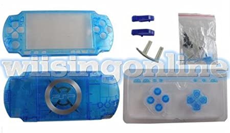 PSP2000 front + back faceplate & buttons (psp2000 housing shell)--crystal Blue