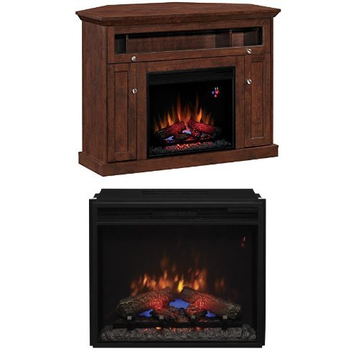 "Complete Set Windsor Dual Mantel In Antique Cherry With 23"" Spectrafire Plus Insert With Safer Plug"