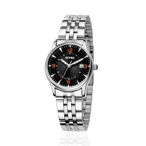 Ufingo-Fashion Cool Steel Band Waterproof Night Light Quartz Watch For Women/Ladies/Girls-Black