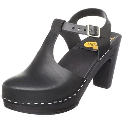 swedish hasbeens Women's 336 T-Strap Sandal,Black,6 M US